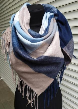 Теплый платок косынка клетка синий голубой в наличии