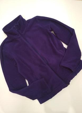 Мягкая теплая качественная флиска кофта uniqlo воротник стойка на молнии фиолетовая