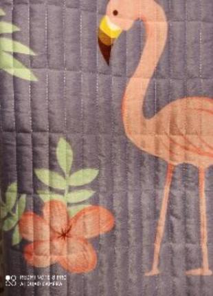 Стеганное двухстороннее покрывало-плед фламинго 200*230