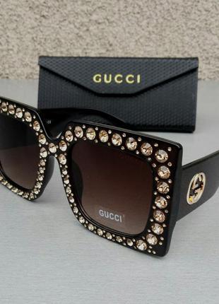 Gucci очки женские солнцезащитные большие квадратные коричневые в камнях