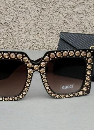 Gucci очки женские солнцезащитные большие квадратные коричневые в камнях2 фото