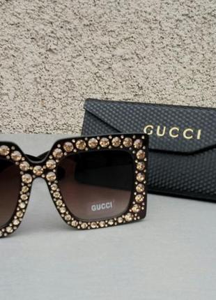 Gucci очки женские солнцезащитные большие квадратные коричневые в камнях3 фото