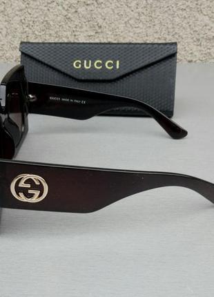 Gucci очки женские солнцезащитные большие квадратные коричневые в камнях4 фото