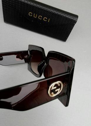 Gucci очки женские солнцезащитные большие квадратные коричневые в камнях8 фото