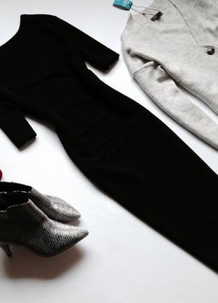 Чёрное базовое платье миди футляр dorothy perkins
