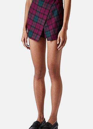 Ассиметричные юбка шорты в клетку topshop