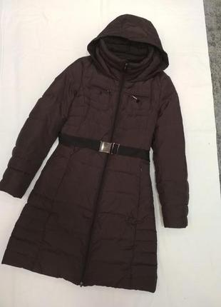 Пуховик пальто пуховое шоколадного цвета geox