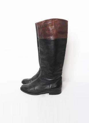 Осенние  классические высокие кожаные сапоги