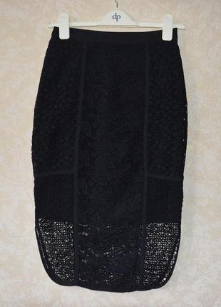 Ажурная черная миди  юбка- карандаш h&m  zara