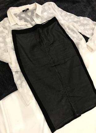Спідничка-міді,поєднання шкіри і джинсу від topshop розмір s,