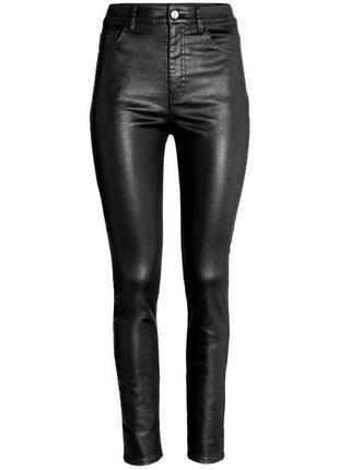 Утепленные черные джинсы скинни под кожу fashion classic, s размер.