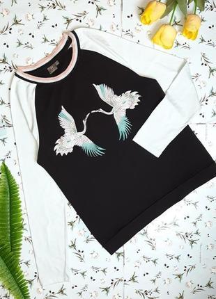 🎁1+1=3 нарядный фирменный свитер лонгслив с вышивкой птицы manor, размер 46 - 48
