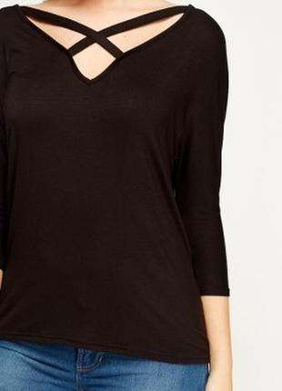 🎁1+1=3 шикарный фирменный черный свитер с интересным вырезом e-vie, размер 48 - 50