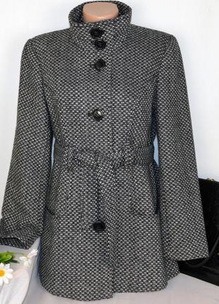Демисезонное пальто полупальто с поясом и карманами petite collection вьетнам шерсть