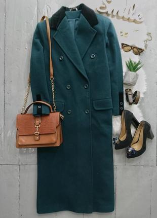Актуальное винтажное двубортное изумрудное миди пальто. #1max