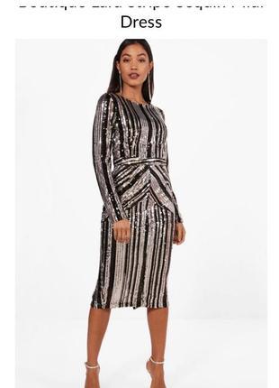 Нереальное брендовое платье пайетки от boohoo!размер -s-m