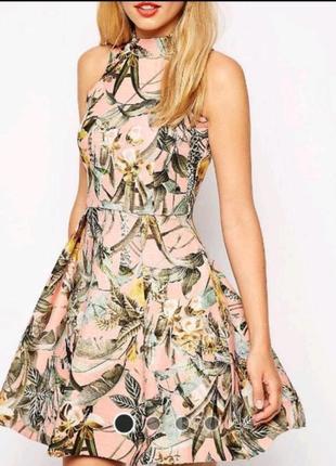 Asos асос платье розовое серое в цветочный принт тёплое