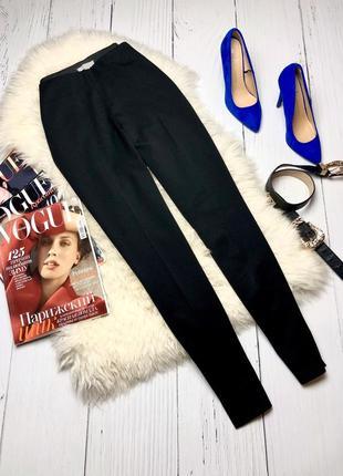 Базовые черные штаны, брюки на высокой посадке h&m