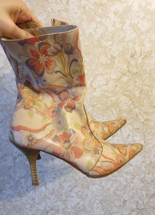 Оригинальные сапоги ботинки боты ботильоны деми кожа
