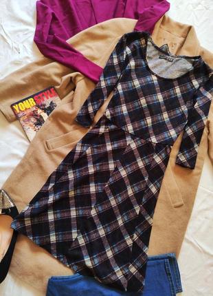 Платье клетчатое коричневое синее бежевое трикотажное