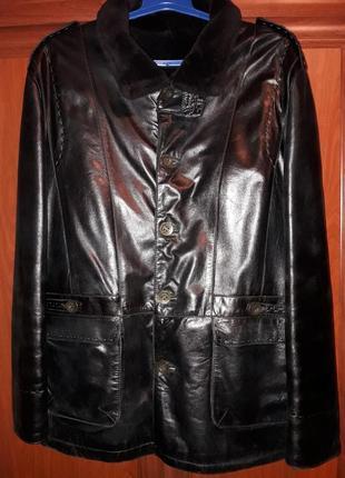 Кожаная зимняя теплая мужская куртка дубленка на цигейке