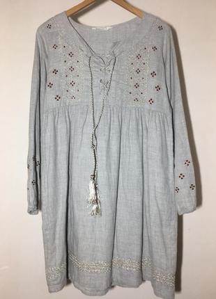 Обьемное платье с вышивкой от naf naf. этно платье, платье в стиле бохо