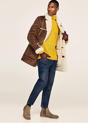 Стильная новая мужская дубленка,крутая мужская зимняя куртка,меховая куртка zara