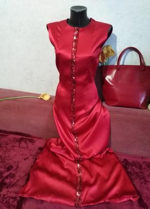Прекрасный красный! шикарное вечернее платье в пол, guido maria kretschmer
