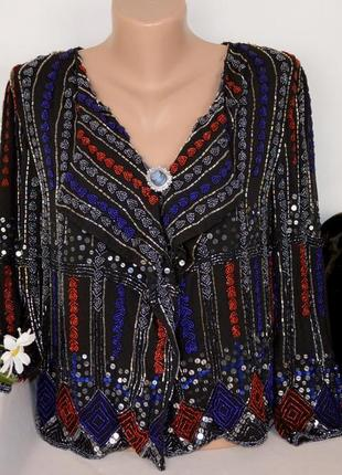 Брендовый пиджак накидка liquorish шелк узор сердце бисер паетки