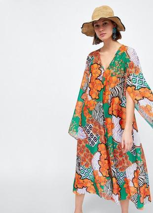 Соковита пляжна туніка оверсайз. літнє плаття міді
