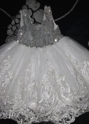 Платье белое,серебристое, блестящее,праздничное, снежинки, принцессы девочке 1- 2 года