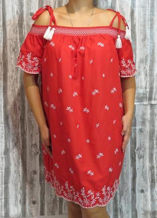 Сарафан платье с оголенными плечами в этно стиле большой размер 22 размер