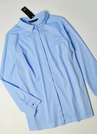 Оригинальная стильная рубашка с жемчугом хлопок
