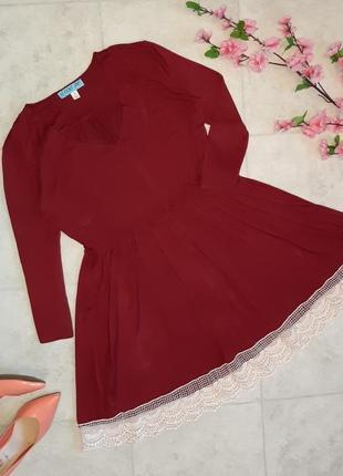 1+1=3 стильное красное трикотажное платье с кружевом по низу, размер 46 - 48
