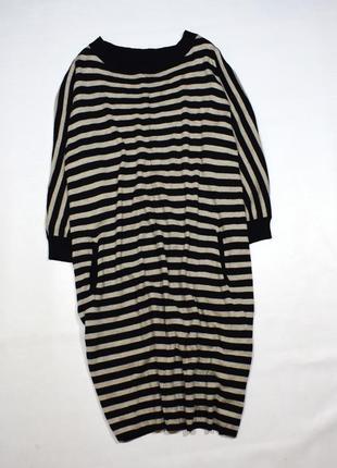 Тепле плаття-світер  оверсайз в смужку, з  кашеміром