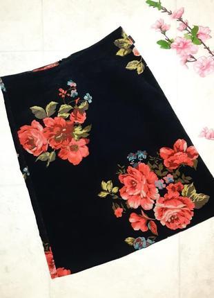 1+1=3 нарядная черная юбка - трапеция микровельвет с цветами kookai, размер 40 - 42