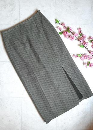 1+1=3 плотная длинная юбка хаки на осень - зиму с разрезом, размер 46 - 48