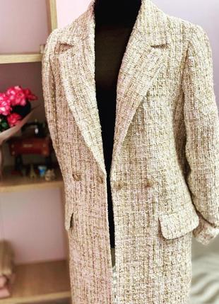 Стильный трендовый твидовый костюм твид  твидовый пиджак жакет шорты песочный беж золотой