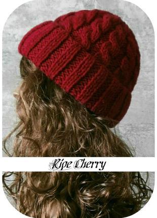 Любая расцветка! с помпоном и без! хлопковая шапка с отворотом/косы/цвета спелая вишня