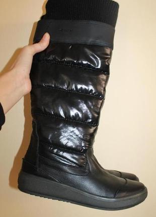 39 разм. geox respira зимние высокие люксовые сапоги. кожа