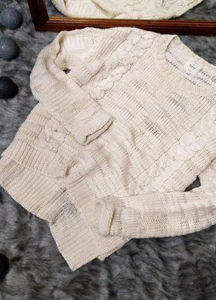 Уютный свитер кофточка грубой вязки с косами new look