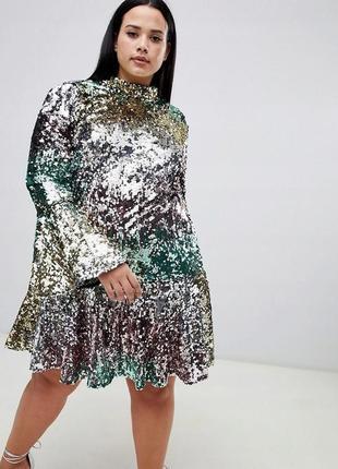 Asos curve радужное платье все в пайетках