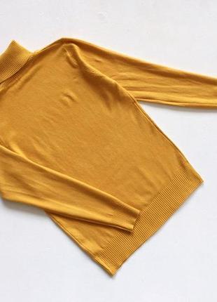 Новый стильный гольф натуральная ткань цвет желтый горчичный  s-m