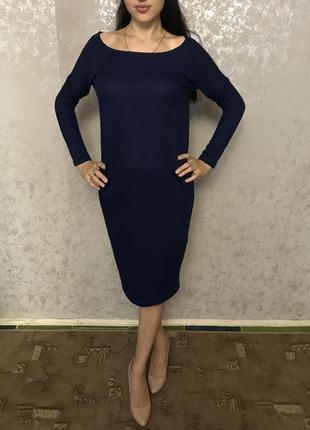 Дизайнерское тёплое платье кокон миди