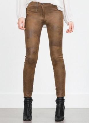 Замшевые брюки леггинсы zara, размер s, 36 евр.