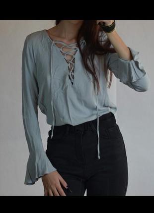Кофта блузка мятная бирюзовая со шнуровкой милая в стиле лоли