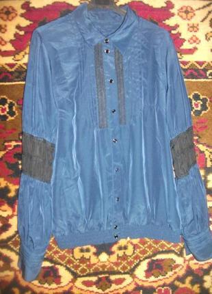 Темно-синяя блузка,рубашка со вставками