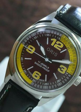 Мужские механические винтажные часы oris швейцарские 70s by 38 мм