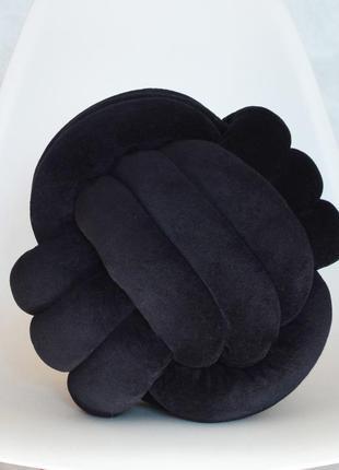 Черная подушка узел 28 см в диаметр