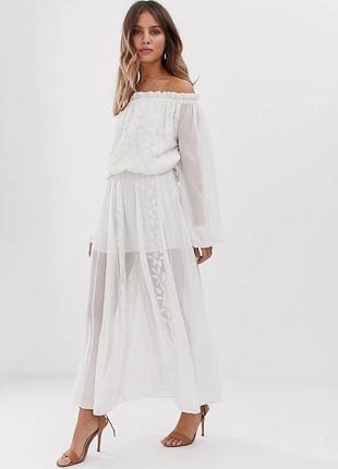 Нежное платье с вышивкой white sand, размер xl